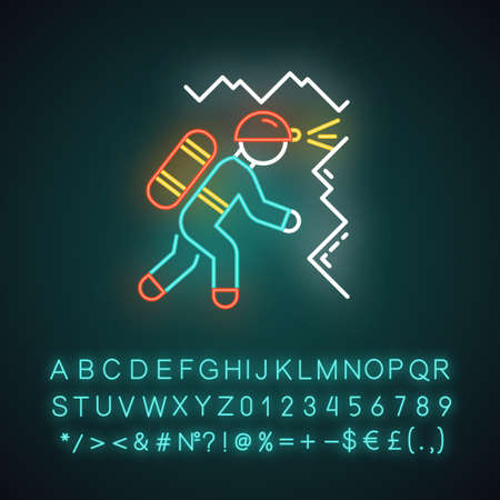 Spelunking neon light icon. Caving, potholing. Exploring underground caverns. Equipped spelunker. Climbing in caves. Glowing sign with alphabet, numbers and symbols. Vector isolated illustration