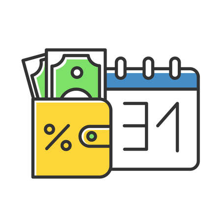 Credit money color icon. Payday loan. Currency in wallet. Tracking increseasing percentage rate income. Budget managment. Investment, income. Finances, economy. Isolated vector illustration