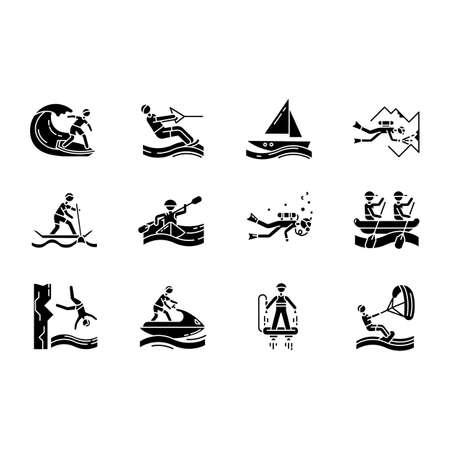Ensemble d'icônes de glyphe de sports nautiques. Symboles de la silhouette. Plongée dans les grottes, kitesurf, flyboard et jet ski. Saut de falaise et paddle surf. Sports extrêmes. Illustration vectorielle isolée Vecteurs