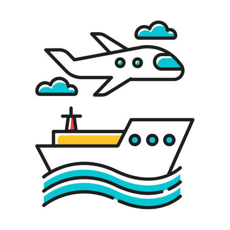Transport industry color icon. Plane and ship. Boat on waves. Airplane in sky. Transportation, shipping. Travel, trip, voyage. Vacation and tourism business. Cruise tour. Isolated vector illustration Vectores