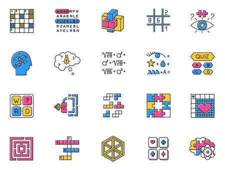 Puzzles and riddles color icons set. Mental exercise. Challenge. Language, vocabulary, intelligence test. Brain teaser. Problem solving. Solution finding. Isolated vector illustrations