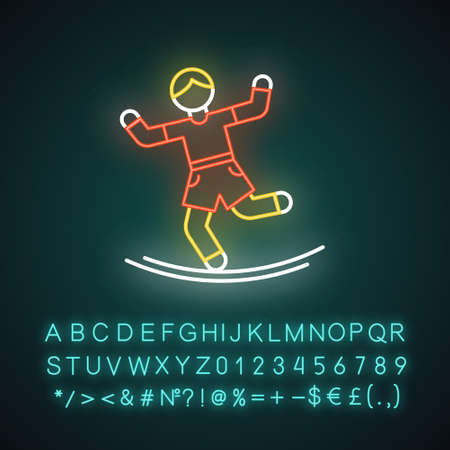 Slacklining neon light icon. Balance training. Slack rope, tightrope walking. Person balancing on suspended webbing. Glowing sign with alphabet, numbers and symbols. Vector isolated illustration