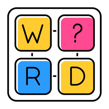 Missing letter puzzle color icon. Word game. Mental exercise. Challenge. Language, vocabulary, intelligence test. Brain teaser. Problem solving. Solution finding. Isolated vector illustration