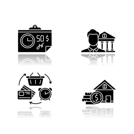 Credit drop shadow black glyph icons set. Home equity loan. Credit bureau. Trading, retail. Revolving credit. Investment report. Cheque, tax, bill with price. Isolated vector illustrations