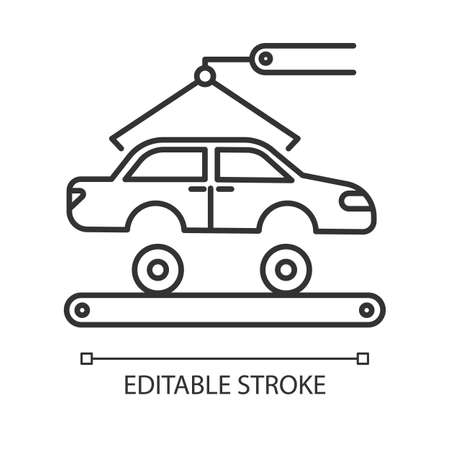 Automotive industry linear icon. Car production. Vehicle factory. Automobile repair. Machinery, maintenance. Thin line illustration. Contour symbol. Vector isolated outline drawing. Editable stroke 일러스트