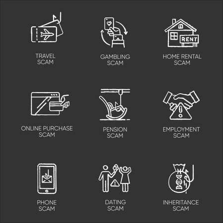 Scam types chalk icons set. Travel, gambling, dating scheme. Pension, inheritance, employment trick. Phone, online purchase, home rental scamming. Cybercrime. Isolated vector chalkboard illustrations Ilustrace