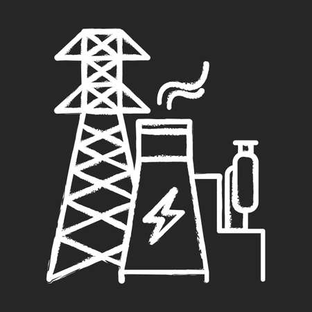 Energy industry chalk icon. Power engineering. Electricity generation and transmission. Electrical sector. Nuclear power plant and high voltage tower. Isolated vector chalkboard illustration