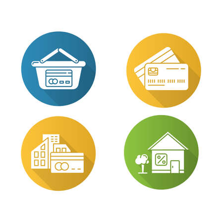 Loan flat design long shadow glyph icons set. Retail, consumerism. Paying with credit card. Small business investment. Loan money with percent rate. Supermarket basket. Vector silhouette illustration Vektorové ilustrace