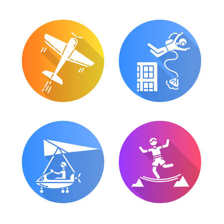 Air extreme sports flat design long shadow glyph icons set. Aerobatics, base jumping, micro lighting and highlining. Outdoor activities. Adrenaline entertainment. Vector silhouette illustration Stock Illustratie