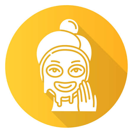 Applying liquid mask yellow flat design long shadow glyph icon. Skin care procedure. Facial beauty treatment. Face product for lifting and exfoliating effect. Makeup. Vector silhouette illustration Illustration