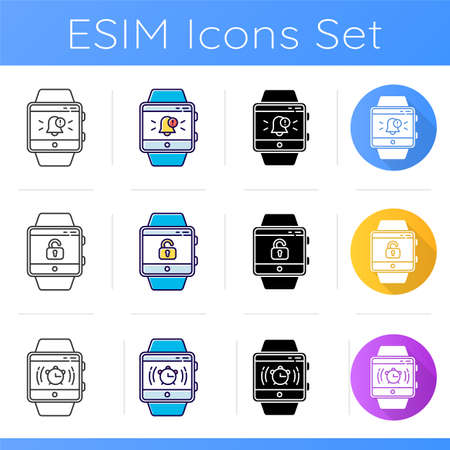 Fitness tracker functions icons set. Smartwatch capabilities. Modern device. Alarm clock, unlocking screen and push notifications. Linear, black and color styles. Isolated vector illustrations