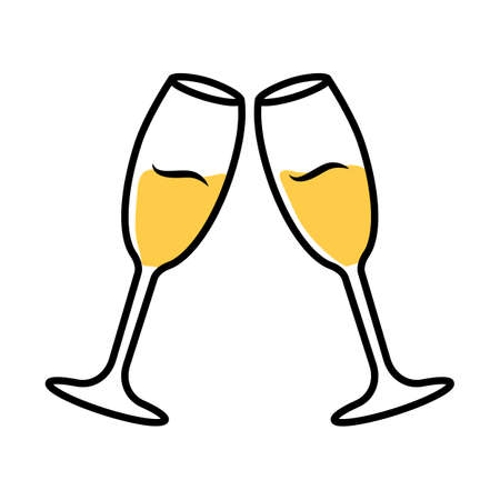 Two clinking glasses with sparkling wine color icon. Champagne flutes. Glassfuls of alcohol beverage. Wine service. Celebration. Wedding. Tasting, degustation. Cheers. Isolated vector illustration