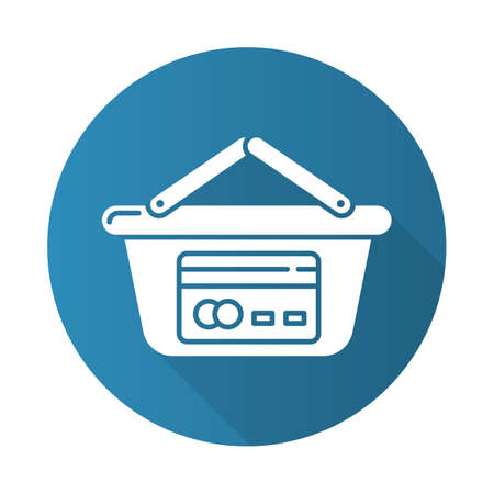 Trade credit blue flat design long shadow glyph icon. Plastic credit card, shopping basket. Cashless payment. Personal loan count. Borrow, lend money. Vector silhouette illustration