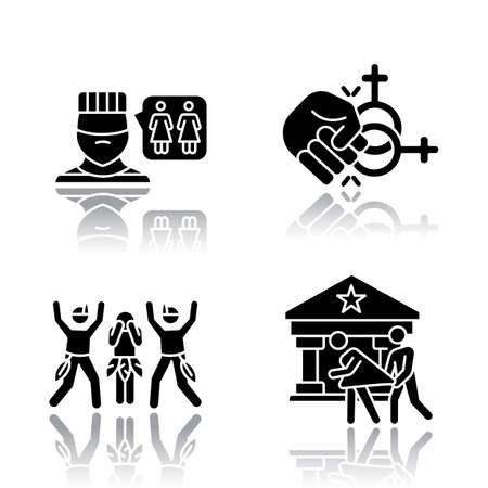 Corrective rape drop shadow black glyph icons set. Violence and sex assault against LGBTQ women. Homophobic rape of lesbians. Sexual harassment of females. Isolated vector illustrations