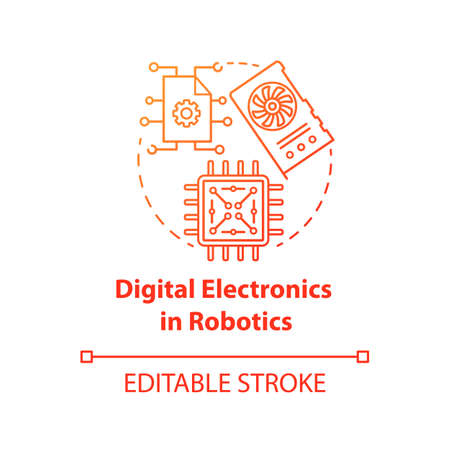 Digital electronics in robotics red concept icon. Computer chip and microscheme idea thin line illustration. Processor, hardware element. Vector isolated outline drawing. Editable stroke