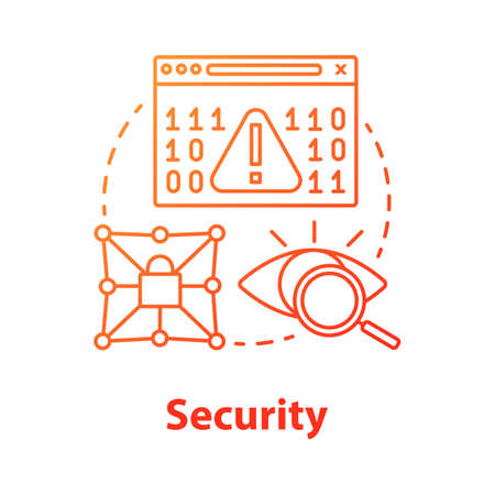 Security concept icon. Privacy protection idea thin line illustration. Confidential data encryption. Cybersecurity and safety. Digital authorization. Vector isolated outline drawing Illusztráció