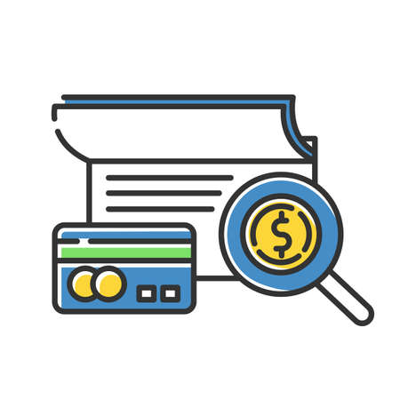Verifying credit history color icon. Examining personal loan payment. Financial report. Economy business. Investment, budget graph. Bank insurance state. Isolated vector illustration