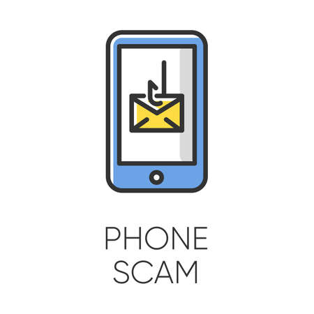 Phone scam color icon. Communications fraud. One-ring trick. Smishing, SMS phishing. Telephone scamming. Illegal money gain. Malicious practice. Fraudulent scheme. Isolated vector illustration