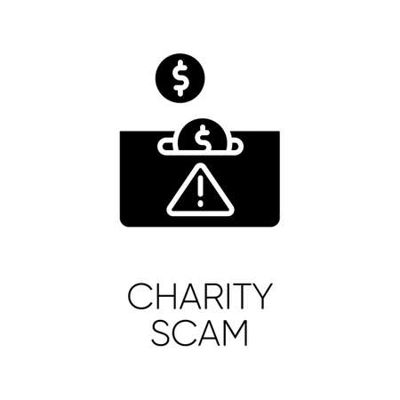 Charity scam glyph icon. Sham charity. Fake donation request. False fundraiser. Money theft. Online fraud. Cybercrime. Silhouette symbol. Negative space. Vector isolated illustration