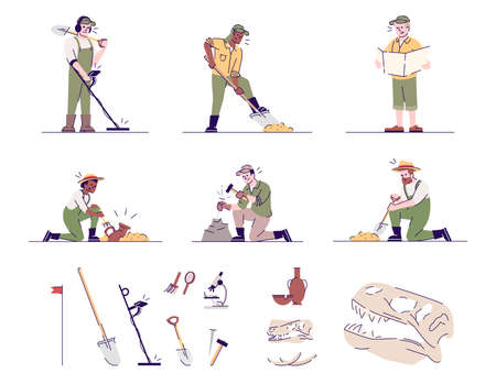 Archeology flat vector illustrations set. Historical researching. Archeologists at work, archeological equipment, artifacts isolated cartoon characters with outline elements on white background Illustration