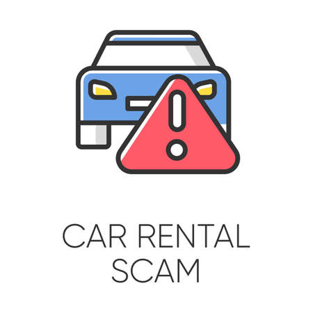 Car rental scam color icon. Low upfront payment. Fake insurance fee. Illegitimate vehicle hire deal. Cybercrime. Financial fraud. Malicious practice. Fraudulent scheme. Isolated vector illustration
