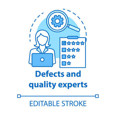 Defects and quality experts turquoise concept icon. Software development idea thin line illustration. Application programming. IT project management. Vector isolated outline drawing. Editable stroke