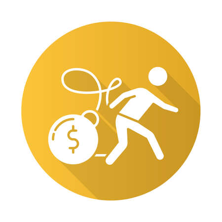 Heavy credit card debt yellow flat design long shadow glyph icon. Mortrage, loan weight. Personal bunkrapcy risk. Loans for bad credit. Money loss danger. Vector silhouette illustration Ilustrace