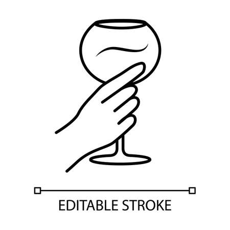 Hand holding wine glass linear icon. Glassful of alcohol drink. Wine service. Stemware. Celebration. Cheers. Thin line illustration. Contour symbol. Vector isolated outline drawing. Editable stroke Illustration