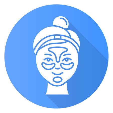 Applying hydrogel patches blue flat design long shadow glyph icon. Skin care procedure. Blackheads removal. Gel mask Facial beauty treatment. Face product. Vector silhouette illustration Ilustrace
