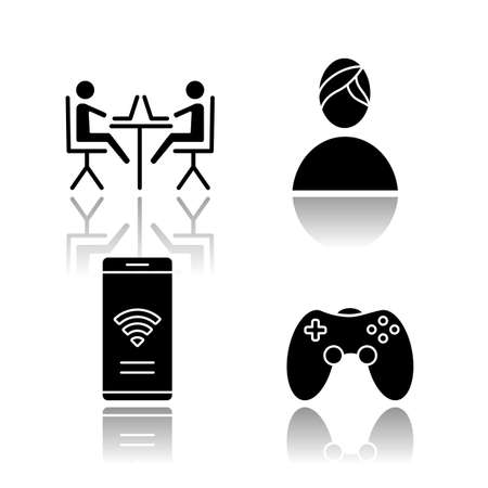 Apartment amenities drop shadow black glyph icons set. Coworking space, spa, internet access, game room. Comfortable house. Property conveniences for millennial renters Isolated vector illustrations