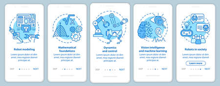 Robotics courses onboarding mobile app page screen vector template. Study robot engineering. Walkthrough website steps with linear illustrations. UX, UI, GUI smartphone interface concept