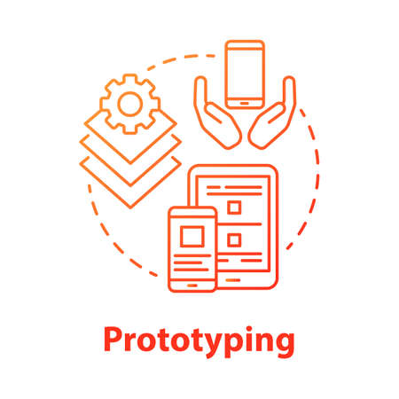 Prototyping concept icon. Software development tools idea thin line illustration. Mobile device app programming. Responsive application design. Application management. Vector isolated outline drawing