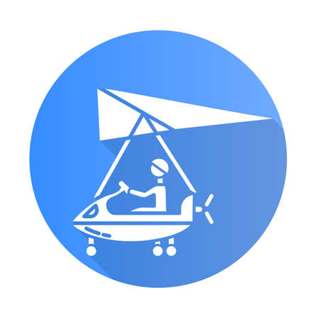 Ultralight aviation blue flat design long shadow glyph icon. Micro lighting. Air extreme sport. Microlight trick. Stunt flying. Ultra light aeroplane flights. Vector silhouette illustration