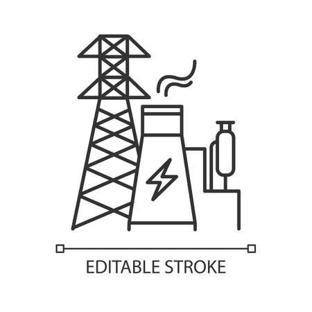 Icône linéaire de l'industrie de l'énergie. Ingénierie électrique. Production et transport d'électricité. Secteur électrique. Illustration de la ligne mince. Symbole de contour. Dessin de contour isolé de vecteur. Trait modifiable
