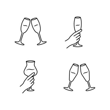 Wine service linear icons set. Clinking champagne glasses. Hands holding alcohol drinks. Celebration. Cheers. Toast. Thin line contour symbols. Isolated vector outline illustrations. Editable stroke