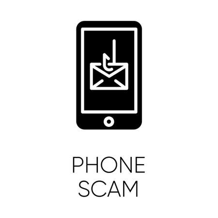 Phone scam glyph icon. Communications fraud. One-ring trick. Smishing, SMS phishing. Telephone scamming. Illegal money gain. Silhouette symbol. Negative space. Vector isolated illustration