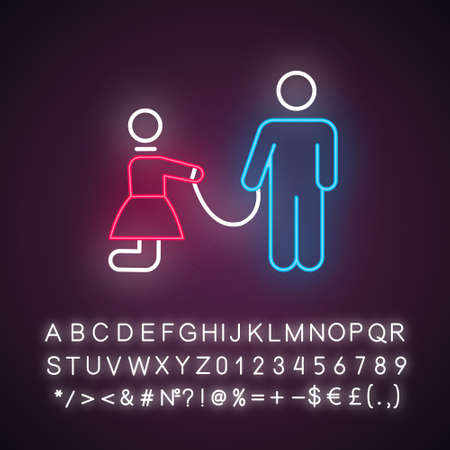 Sexual slavery neon light icon. Violation of female human rights. Abusing woman. Girl on leash. Sex with no consent. Glowing sign with alphabet, numbers and symbols. Vector isolated illustration