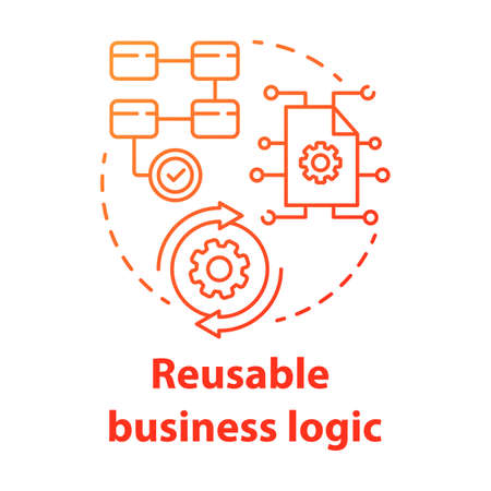Reusable business logic concept icon. Software development kit idea thin line illustration. Corporate strategy. Tools mobile device program developer. Vector isolated outline drawing Çizim