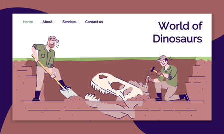 World of dinosaurs landing page vector template. Archeological excavations website interface idea with flat illustrations. Paleontology research homepage layout. Web banner, webpage cartoon concept