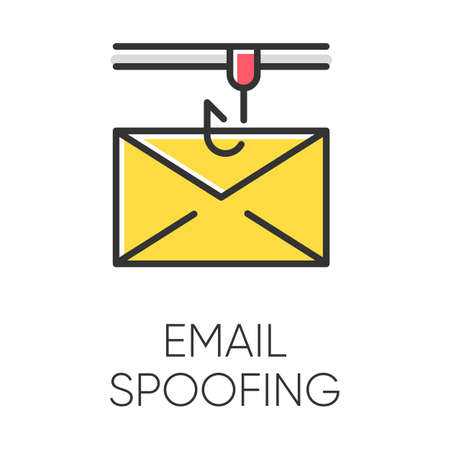 Email spoofing color icon. Illegitimate business. Forged sender. Online scam. Spamming. Fake email header. Mail phishing. Cybercrime. Malicious, fraudulent scheme. Isolated vector illustration