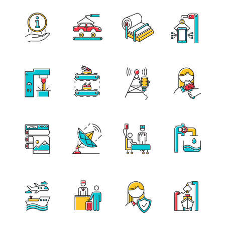 Industry types color icons set. News and media. Information broadcasting, Shipbuilding. Pulp and paper production. Publishing. Healthcare services. Hospitality industry. Isolated vector illustrations Ilustração