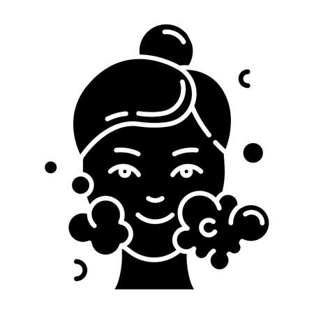 Water face cleanser glyph icon. Skin care procedure. Facial beauty treatment. Foam and bubbles. Cleansing and moisturizing effect. Silhouette symbol. Negative space. Vector isolated illustration