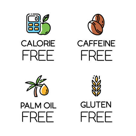 Product free ingredient color icons set. No calories, caffeine, palm oil, gluten. Organic healthy food. Low calories meals. Dietary without allergens and sweeteners. Isolated vector illustrations