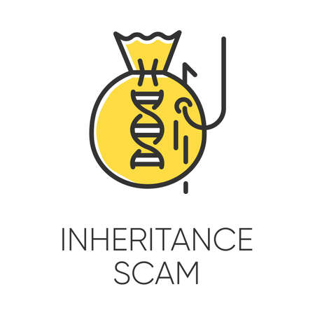 Inheritance scam color icon. Fake benefactor. Distant relative trick. Financial fraud. Illegal money gain. Phishing. Malicious practice. Fraudulent scheme. Isolated vector illustration