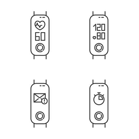 Fitness tracker health monitoring linear icons set. Wellness gadget with blood pressure and heart rate indicators. Thin line contour symbols. Isolated vector outline illustrations. Editable stroke