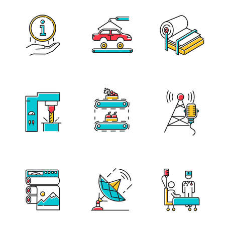 Industry types color icons set. Information sign. Automotive production. Pulp and paper. Steel industry. Fruit supply. Broadcasting and news. Healthcare service. Isolated vector illustrations