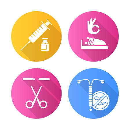 Safe sex flat design long shadow glyph icons set. Vaccination. Sex with consent. Sterilisation, vasectomy. Medical procedure. Fallopian tubes cut. Contraceptive patch. Vector silhouette illustration