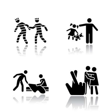 Los diferentes tipos de violación dejan caer los iconos de glifos negros de sombra. Prisión, ley, hijos, violación conyugal. Acoso sexual de niño, mujer. Mujeres víctimas de agresión. Ilustraciones vectoriales aisladas