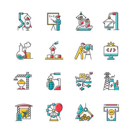 Ensemble d'icônes de couleur de types d'industrie. Production de biens et services. Développement de la technologie. Activités humaines à but lucratif. Entreprises dans divers secteurs de l'économie. Illustrations vectorielles isolées Vecteurs