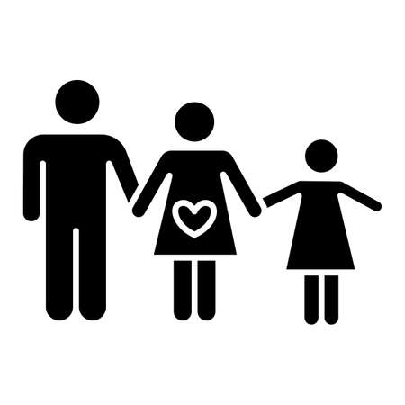 Family planning glyph icon. Husband and wife raising child. Mother and father with daughter. Spousal relationship. Kid with parents. Silhouette symbol. Negative space. Vector isolated illustration